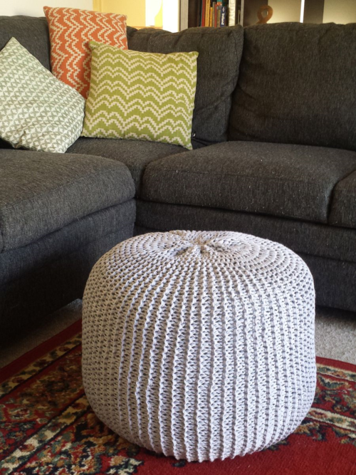 Pattern Knitted Ottoman Pouf Floor Cushion Delaney